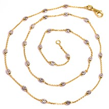 """18K ROSE & WHITE GOLD ROLO ALTERNATE CHAIN NECKLACE 3mm FACETED OVAL BALLS 16"""" image 1"""