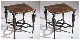 TWO RICH QUALITY WOOD & VENEER INLAY TOP END SIDE TABLE VINTAGE MODERN S... - $875.60