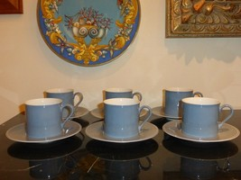 Dansk Tapestries Jacquard Jack Lenor Larsen Blue And Gray Cups & Saucers - $99.00
