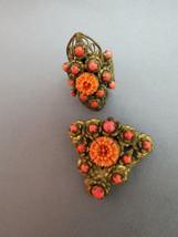 VTG Antique Ring Celluloid Coral Flower Stones Adjustable Brooch Clip Fi... - $44.54
