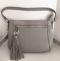 Michael Kors Charm Tassel Medium Messenger Crossbody ~ Pearl Gray Leather NWT - $169.95