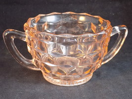 PINK DEPRESSION GLASS SUGAR Bowl CUBE Pink by Jeannette 1936-1946 3 inch... - $19.16