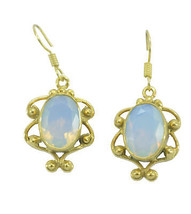 Yellow Gold Plated Glass gorgeous Fire Opal CZ Designer Earring AU gift - $11.47
