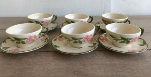 Set 6 Franciscan Desert Rose Tea Cups and Saucers Made in USA