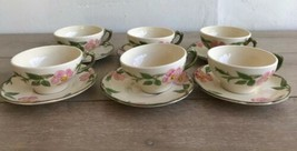 Set 6 Franciscan Desert Rose Tea Cups and Saucers Made in USA - $54.44