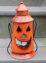 Tin Jack O Lantern Pumpkin Halloween Autumn Hanging Candle Holder Rustic... - €12,14 EUR