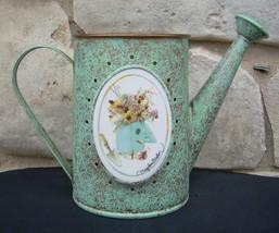 Marjolein Bastin Watering Can Hallmark Metal Birdhouse Tile Emblem Vase - $14.99