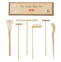 Mini Japanese Zen Garden Rake Bamboo Tool Set, Wooden Sandbox Sand Play Therapy
