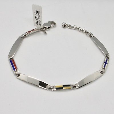 SOLID 925 RHODIUM SILVER BRACELET WITH GLAZED NAUTICAL FLAGS MADE IN ITALY
