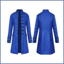 Renassiance Noblemens Royal Blue Jacquard Mandarin Collar Long Gothic Wa... - $79.95