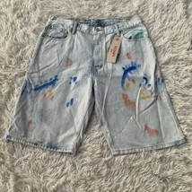 Levi's Men's 569 Paint Splattered Blue Jeans Shorts Loose Straight Size ... - $38.60