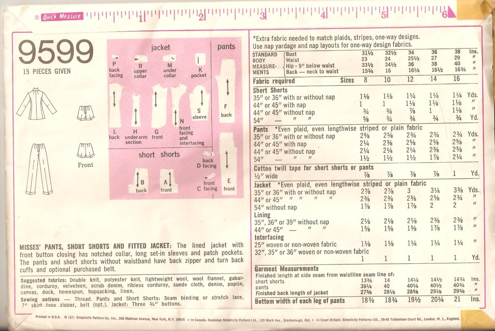 Vintage 1971 Pants, Shorts & Jacket Misses Size 14 Pattern Simplicity 9599 UNCUT
