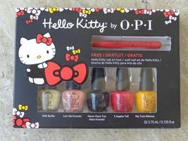 OPI NIB Hello Kitty Nail Polish Mini Set With Nail Art Tool 5 Mini Bottl... - $9.89