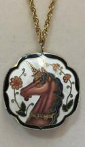 Vintage Cloisonne Unicorn Pendant Necklace Puffy Double Side Goldtone Avon Chain - $12.86