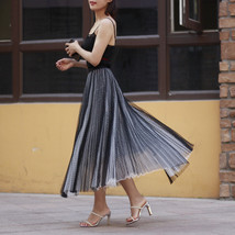 Black Polka Dot Tulle Skirt Black Pleated Tulle Midi Skirt image 2