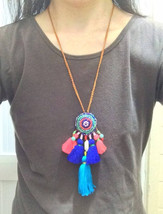 SALE - Gypsy necklace, boho necklace, tassels necklace, ethnic necklace,... - $25.99