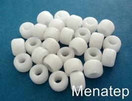 25 5 x 9 mm Czech Glass Roller/Crow Beads: Alabaster - $1.13