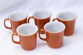 "Corning Pyrex Mugs Rust 3.625"" Lot of 5 - $29.39"