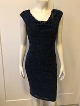 Ralph Lauren Faux Wrap Dress 2 (XS) Navy Blue Sequin Tulle Sheath Ruched - $31.49