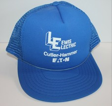 Vintage Trucker Hat Lewis Electric Cutler Hammer EATON Blue Rope Trim Mesh  - $19.34