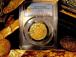 SPAIN 1712 4 ESCUDOS AU GOLD TREASURE COIN PCGS DETS PIRATE GOLD COINS D... - $3,950.00