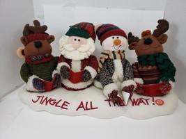 Christmas Jingle Bell Singers Plush Musical Santa Reindeer Snowman Carolers - $15.98