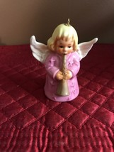 Goebel Christmas Angel Bell Ornament Playing Horn 1976 Pink Blonde - $9.89