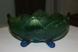 Jeannette Glass Lombardi Blue Green Footed Fruit Bowl - $27.72