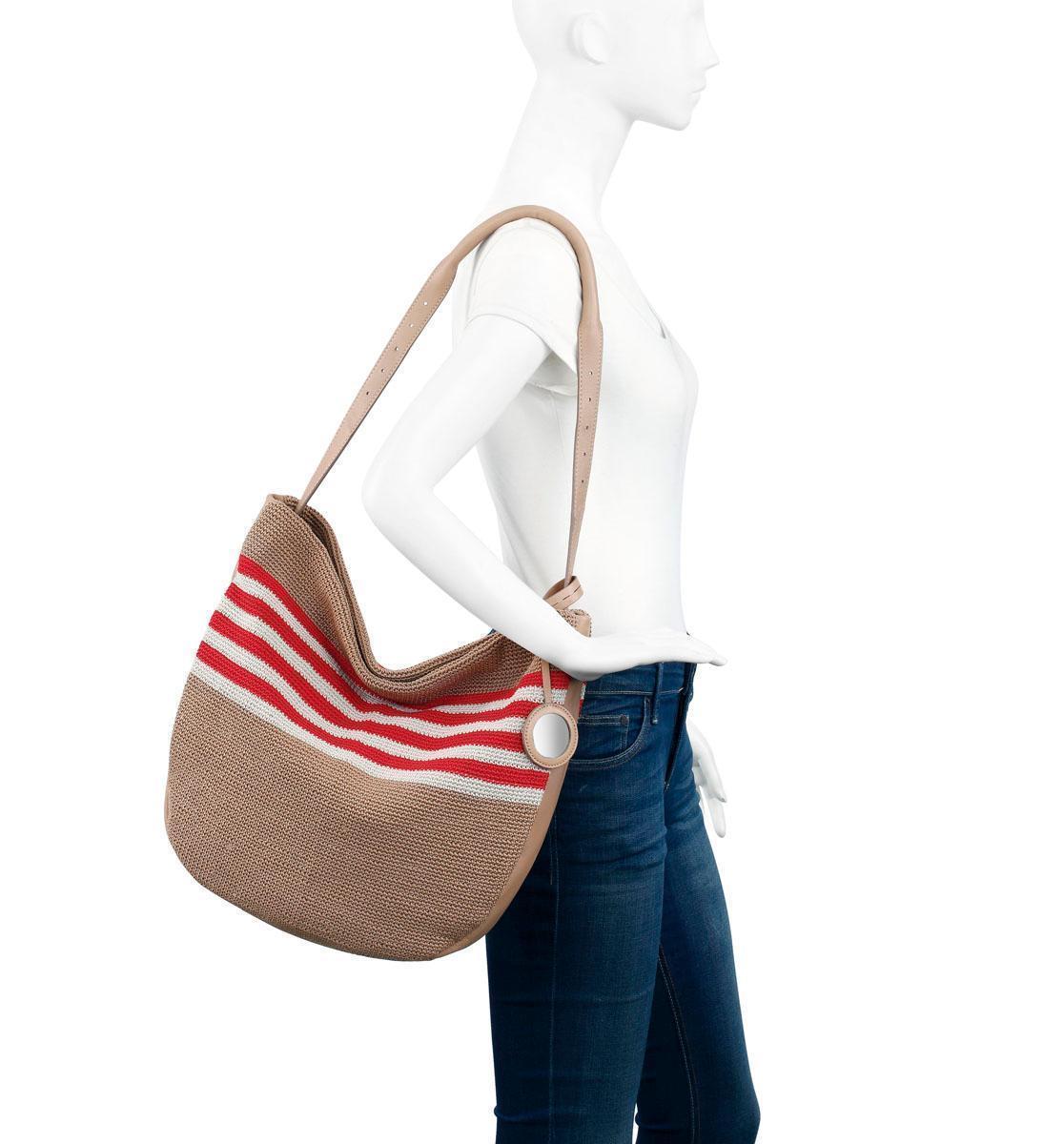 NEW THE SAK WOMEN S SOMA LARGE CROCHET HOBO SHOULDER BAG BEACH CABANA STRIPE 94f1f5868d401