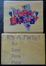 Happy Birthday Rubber Stamps Lot 2 Two Its a Party Invitation Celebratio... - $8.22