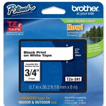 "Brother OEM TZe241 Black on White Tape (3/4"") - $22.48"
