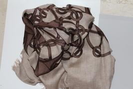 New Gucci l Horsebit Logo Modal Wool Shawl Scarf XL 140 x 140 Brown  - $229.00