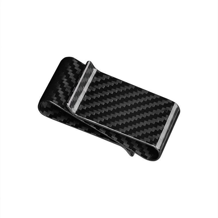 Double Side Carbon Fiber Money Holder Clip Black Glossy