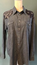 Ralph Lauren Women's Denim Western Work Shirt Bandana Print NWT MSRP $125 - $50.00