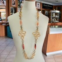 Necklace the Aluminium Gold & Burnished with Agate Orange Long 95 CM image 1