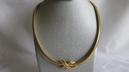 Vintage Avon Serpentine Necklace / Choker with Removable Rhinestone Cent... - $10.99