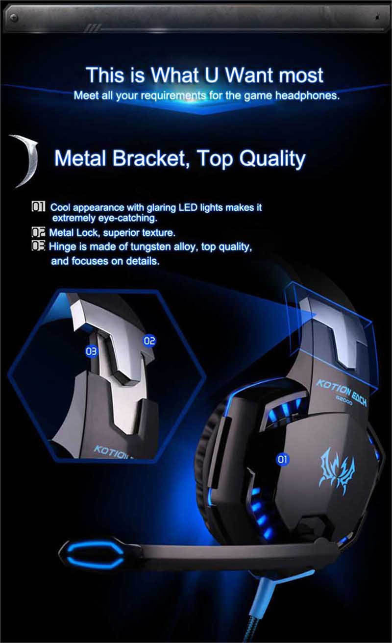 Gaming Headphone Headset 3.5mm With Microphone Computer LED Gamer Stereo
