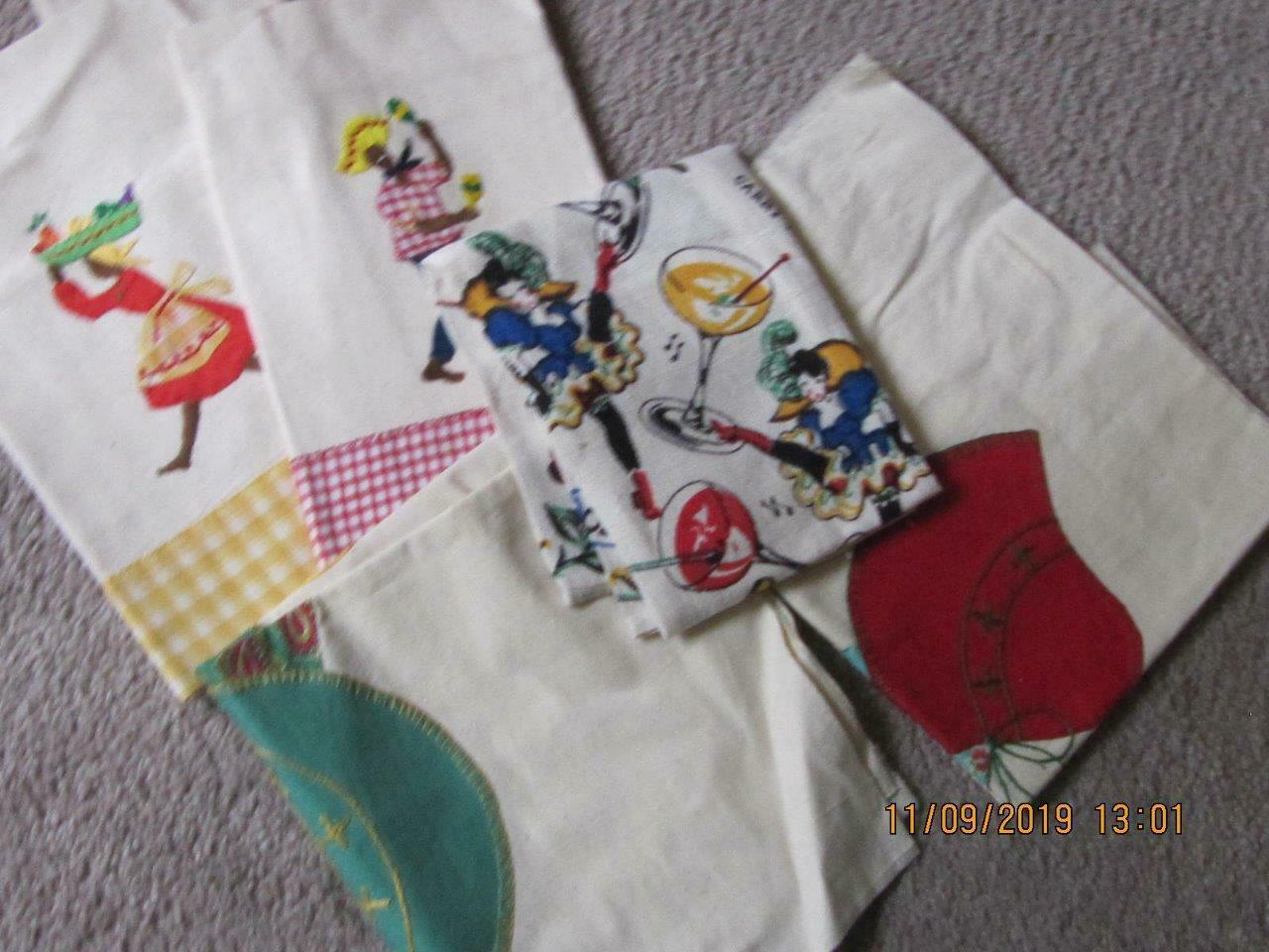 Lot of 25 Vintage teatowels dish towels assorted sizes colors condition fabrics image 6
