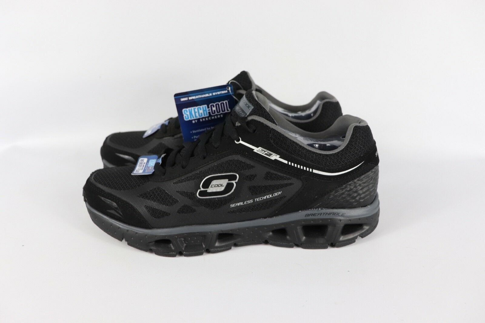 New Skechers Mens 10.5 Skech-Cool Chill Athletic Running Sneakers Shoes Black