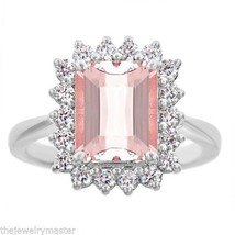MORGANITE & DIAMOND HALO ENGAGEMENT RING EMERALD CUT 10x8mm 14KT WHITE GOLD - €1.571,62 EUR