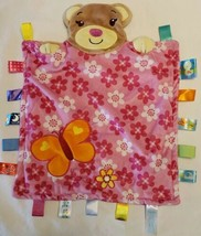 Taggies Teddy Bear Pink Satin Tab Security Blanket Lovey Floral Butterfl... - $14.83