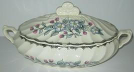 Vintage Royal China Belvidere Covered Serving Bowl Tureen Blue Floral Platinum  - $12.19