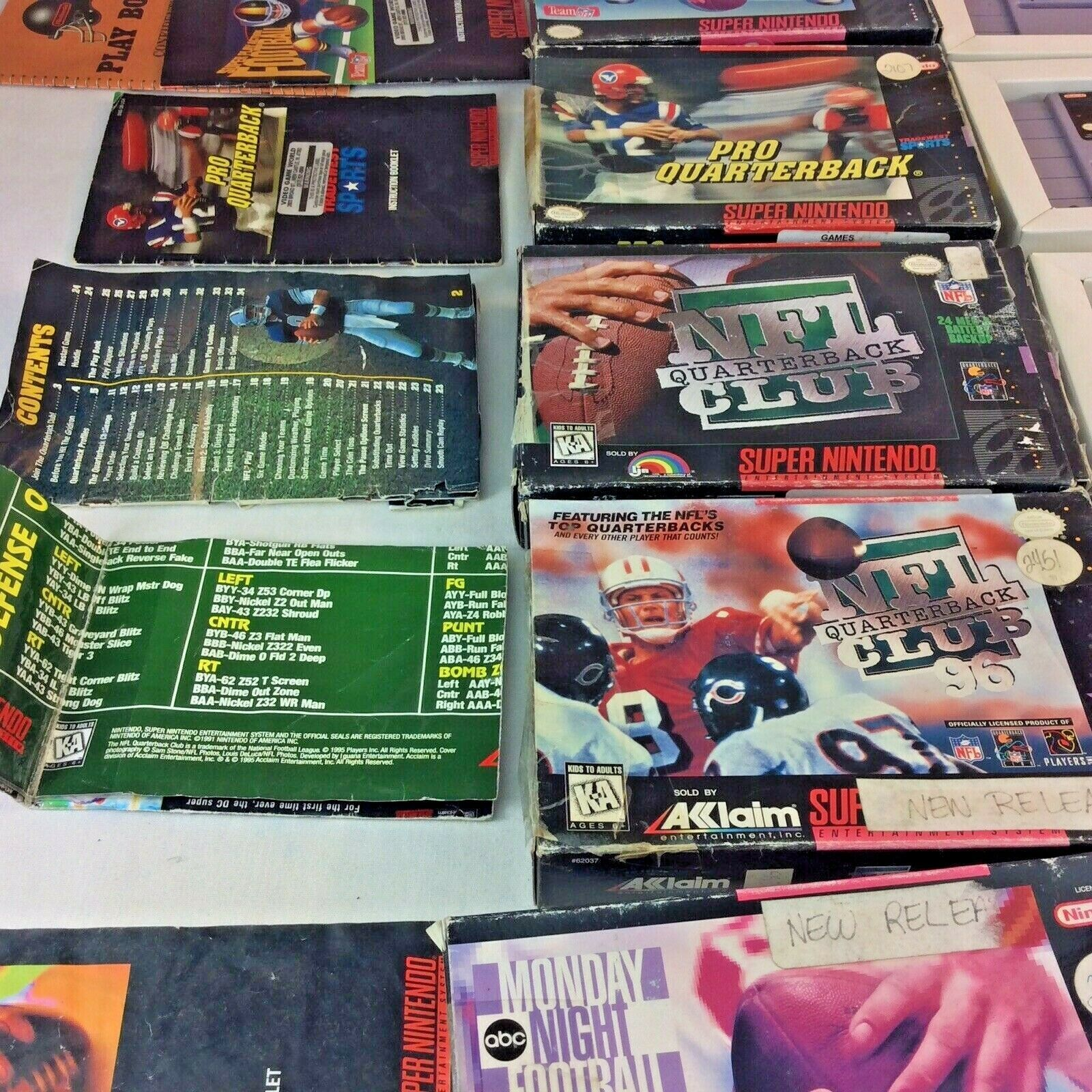SNES Game Lot NFL Quarterback Club Monday Night Football Super Play Action Boxes image 4