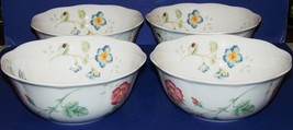 """Beautiful Set Of 4 Lenox Porcelain Butterfly Meadow All Purpose Cereal 7"""" Bowls - $71.52"""