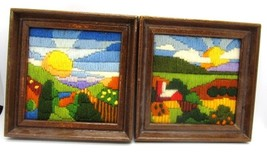 Crewel Embroidered Set of 2 Coordinating Farm & Farm Land Hand Stitched ... - $18.99