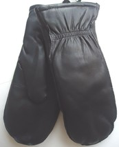 Genuine Leather Mittens With Finger Slots, Black - $51.00