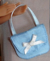 Barbie doll Cinderella Princess blue cloth purse with bow and ribbon handle - $8.99