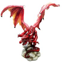 "Ebros Large Volcano Dragon On Rock Statue 15.5"" Wide Red Fire Dragon Sculpture - $69.99"