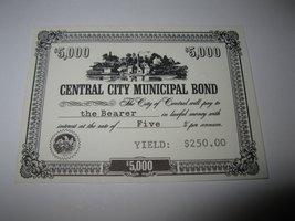 1964 Stocks & Bonds 3M Bookshelf Board Game Piece: Central City $5,000 Bond  - $1.00