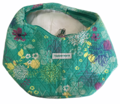 Tupperware green wildflower floral zip  lunch bag Retired Washable - $12.59